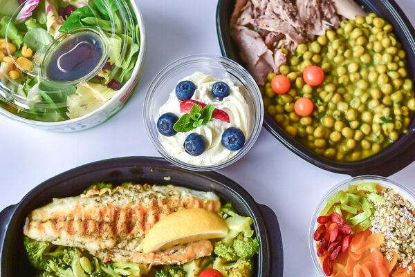протеиново меню без закуска с риба и грах, салата и два десерта