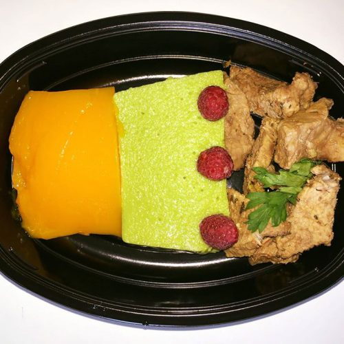Основно ястие - телешко с желирано грахово и морковено пюре от кухня Fit Panther®