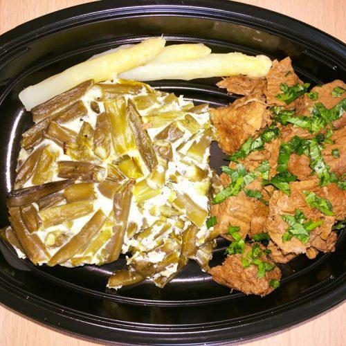 Телешко със запеканка от зелен фасул, белтъци и бели аспержи