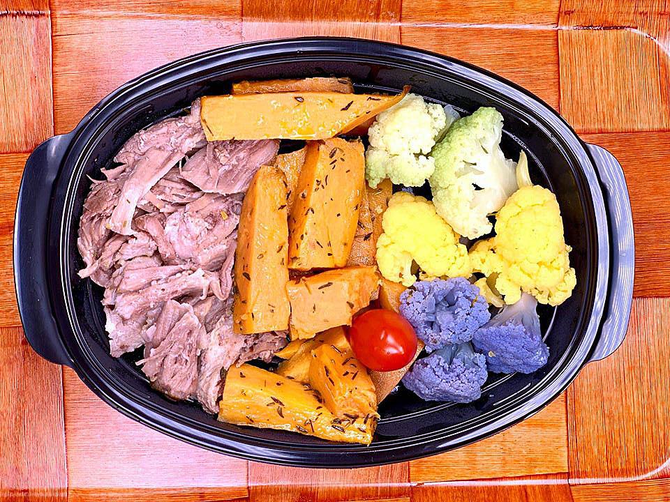 Пуешко със сладък картоф и цветен карфиол