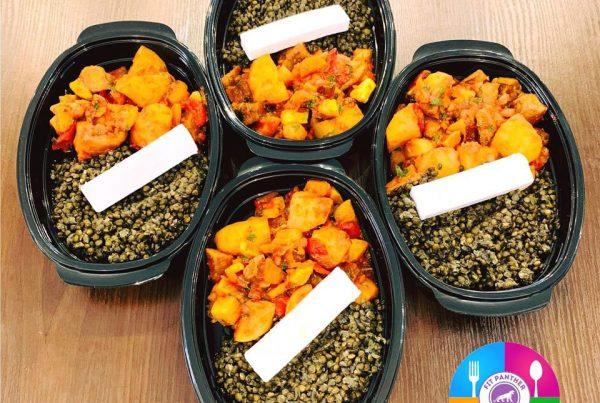 Черна леща белуга, гювечот картофи и зеленчуци с био веган сирене от кокосова паста и зехтин